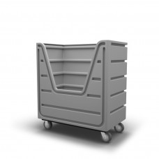 "Bulk Container Cart - Black - XRAY - Stencil (2) - Nylon Cover - Casters (8"") - Poly Base"