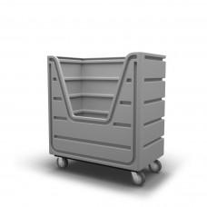 Bulk Container Cart - Black - Stencil (2) - Nylon Cover - Poly Base