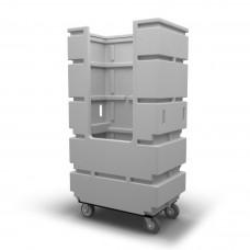 "Bulk Container Cart - Black - Stencil (2) - Casters (8"")"