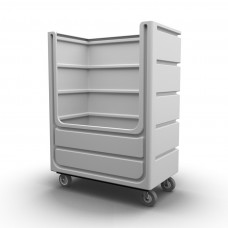 """Bulk Container Cart - Black - Stencil (1) - Netting - Casters (8"""") - Steel Base"""