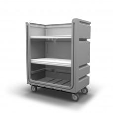"Convertible Shelf Bulk Cart - Black - Plastic Shelves (2) - Casters (8"") - Poly Base"