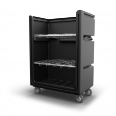 "Convertible Shelf Bulk Cart - Black - Stencil (1) - Plastic Shelves (2) - Nylon Cover - Casters (8"")"