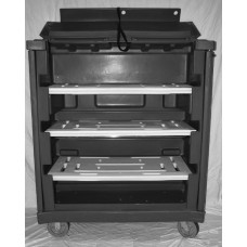 "Convertible Shelf Bulk Cart - Black - Wire Shelves (2) - Nylon Cover - Casters (6"")"