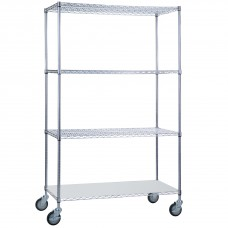 Wire Linen Cart 24x48x68 w/ Solid Bottom Shelf