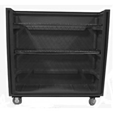 "Convertible Shelf Bulk Cart - Black - XRAY - Stencil (1) - Wire Shelves R(3) - Casters (8"")"