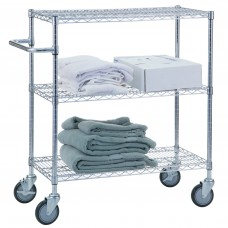 Triple Shelf Wire Utility Cart, Chrome-Plated