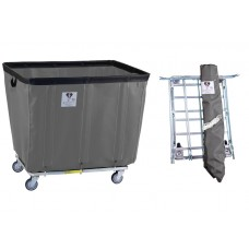 "8 Bushel ""UPS/FEDEX-ABLE"" Vinyl Basket Truck w/ Antimicrobial Liner, Gray"